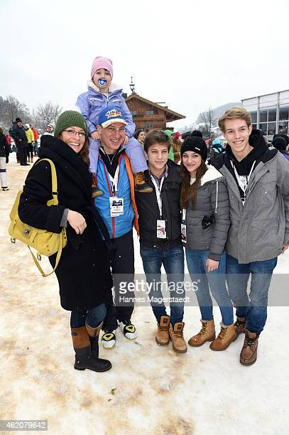 Actor Tobias Moretti with wife Julia and children attend the Hahnenkamm Race on January 24, 2015 in Kitzbuehel, Austria.
