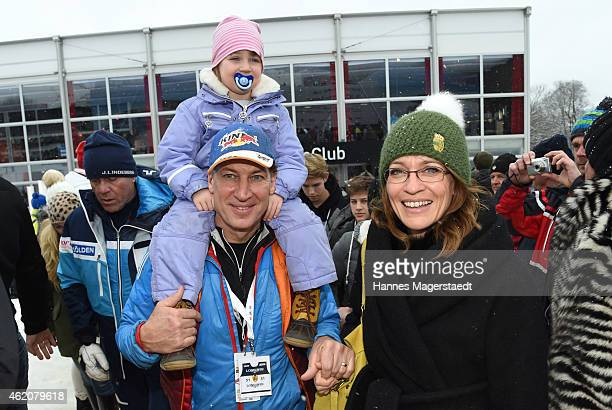 Actor Tobias Moretti with wife Julia and daughter attend the Hahnenkamm Race on January 24, 2015 in Kitzbuehel, Austria.