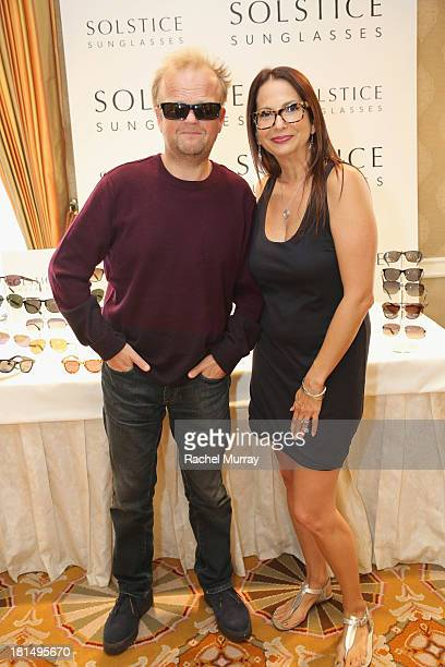 55387eea9d58f Actor Toby Jones in Polaroid 8301 sunglasses poses with Director of Public  Relations of Solstice