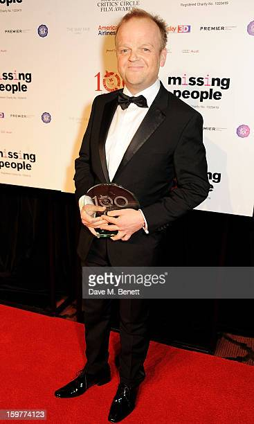 Actor Toby Jones winner of the British Actor of the Year award poses in the press room at The London Critics Circle Film Awards at the May Fair Hotel...