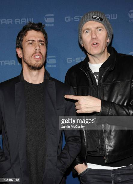 Actor Toby Kebbell and photographer Anton Corbijn attends the GStar Fall 2009 Fashion Show at the Hammerstein Ballroom on February 17 2009 in New...