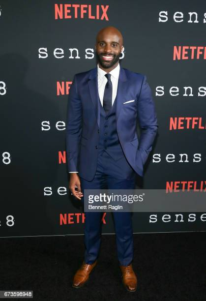 Actor Toby Onwumere attends the Sense8 New York premiere at AMC Lincoln Square Theater on April 26 2017 in New York City
