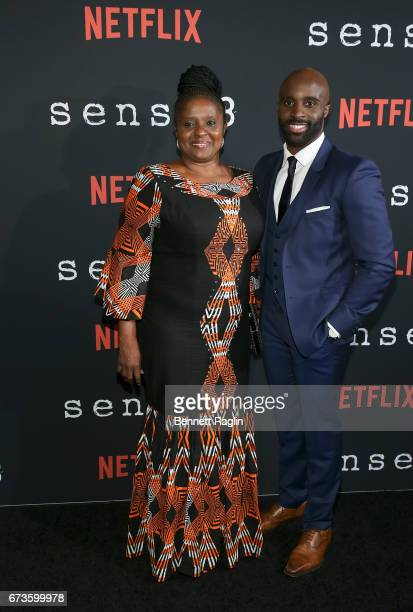 Actor Toby Onwumere poses for a picture with his mother during the Sense8 New York premiere at AMC Lincoln Square Theater on April 26 2017 in New...