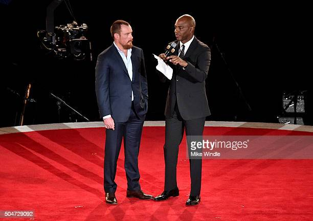 Actor Toby Stephens and TV personality Kevin Frazier attend the Dallas Premiere of the Paramount Pictures film '13 Hours The Secret Soldiers of...
