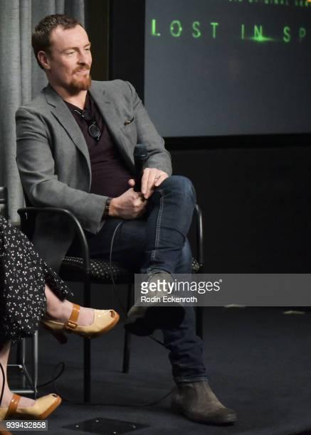 Actor Toby Stephens speaks onstage at SAGAFTRA Foundation Conversations screening of 'Lost In Space' at SAGAFTRA Foundation Screening Room on March...