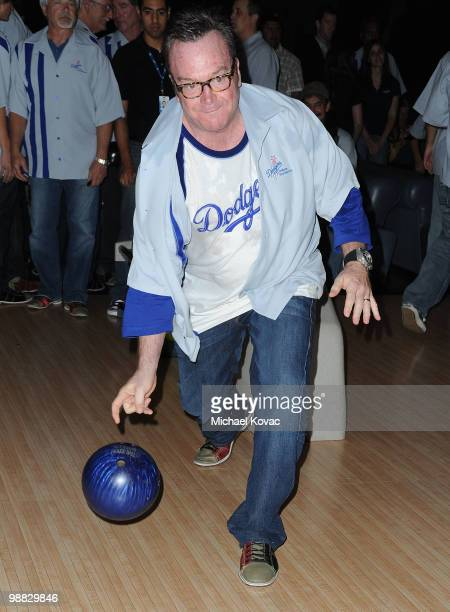 Actor Tom Arnold bowls at the 6th Annual State Farm Dodgers Dream Foundation Bowling Extravaganza at Lucky Strike Lanes at LA Live on May 3 2010 in...