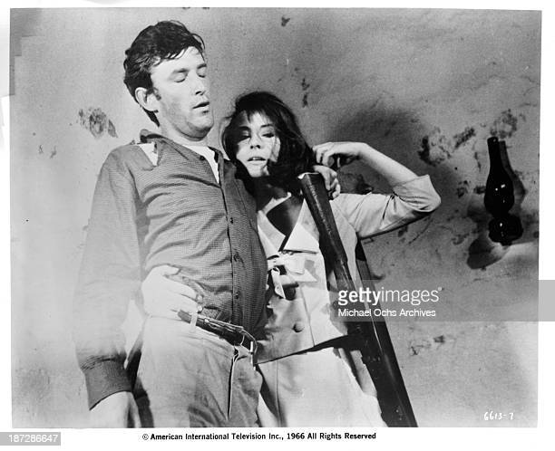 Actor Tom Bell and actress Diane Baker on set of the movie Sands of Beersheba in 1966