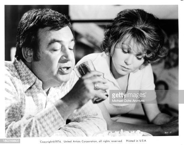 Actor Tom Bosley and actress Barbara Harrison set of the United Artist movie Mixed Company in 1974
