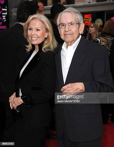 Actor Tom Bosley and his wife actress Patricia Carr arrive at the premiere of CBS Films' 'The BackUp Plan' held at the Regency Village Theatre on...