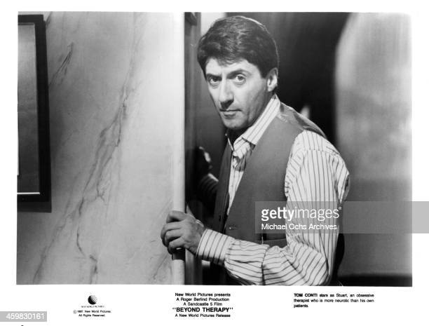 Actor Tom Conti on set of the movie 'Beyond Therapy ' circa 1987