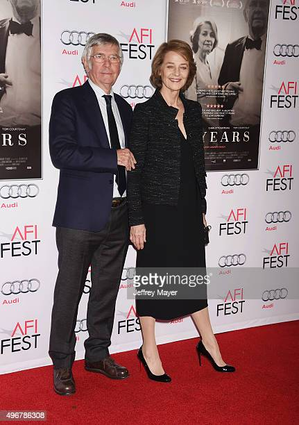 Actor Tom Courtenay and actress Charlotte Rampling arrive at the AFI FEST 2015 Presented by Audi Tribute to Charlotte Rampling and Tom Courtenay...