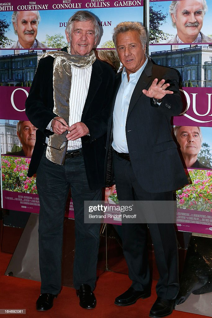 Actor Tom Courtenay and director Dustin Hoffman attend 'Quartet' movie premiere, held at UGC Cine Cite les Halles on March 26, 2013 in Paris, France.