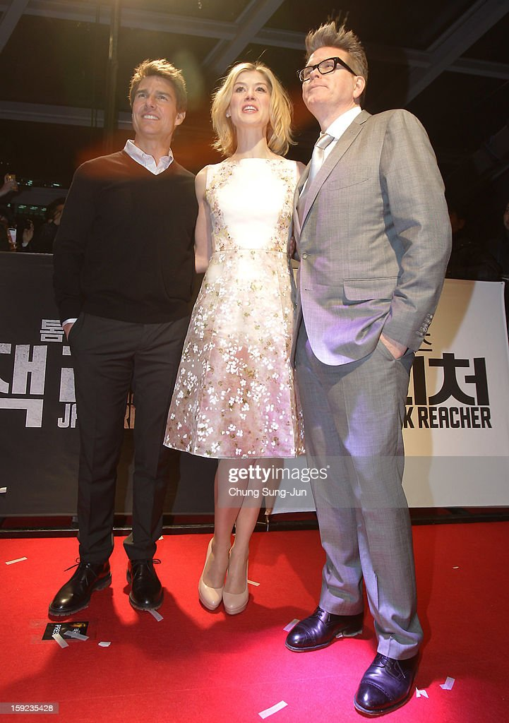 Actor Tom Cruise, actress Rosamund Pike and director Christopher McQuarrie attend the 'Jack Reacher' Fan Screening at Busan Cinema Center on January 10, 2013 in Busan, South Korea. The film will open on January 17 in Korea.