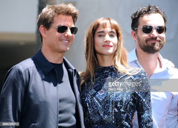 Actor Tom Cruise actress Sofia Boutella and actor Jake Johnson attend Universal Pictures 'The Mummy Day' With 75Foot Sarcophagus Takeover at...