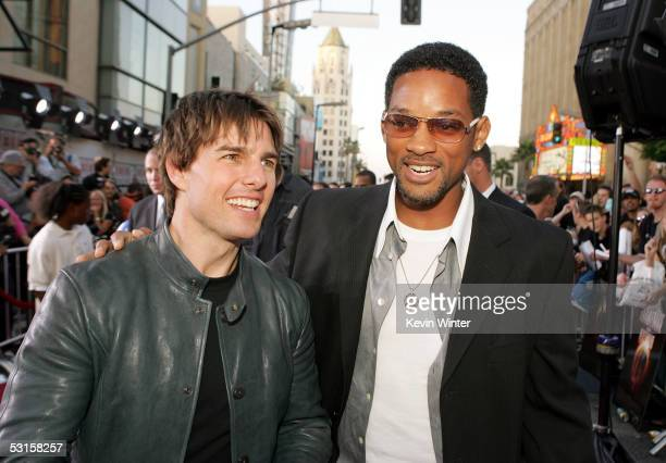 Actor Tom Cruise and actor Will Smith arrive at the Los Angeles Fan Screening of 'War of the Worlds' at the Grauman's Chinese Theatre on June 27 2005...