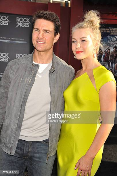 Actor Tom Cruise and actress Julianne Hough arrive at the world premiere of Rock of Ages held at Grauman's Chinese Theater in Hollywood