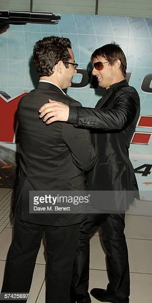 Actor Tom Cruise and director JJ Abrams arrive at the UK Premiere of 'Mission Impossible 3' the third film in the action movie series at the Odeon...