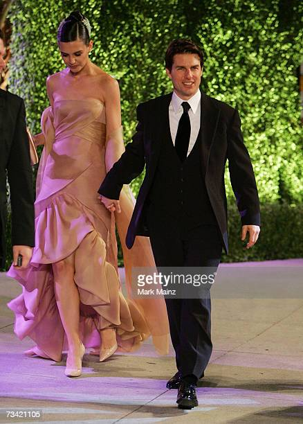Actor Tom Cruise and his wife actress Katie Holmes arrive at the 2007 Vanity Fair Oscar Party at Mortons on February 25 2007 in West Hollywood...