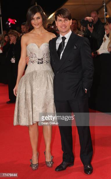 """Actor Tom Cruise and his wife Katie Holmes attend the German premiere to """"Lions for Lambs"""" at the Kino International October 24, 2007 in Berlin,..."""