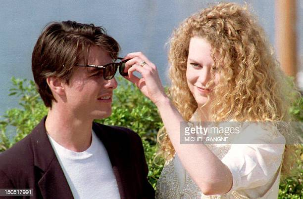 US actor Tom Cruise and his wife Nicole Kidman pose for photographers 18 May 1992 prior to the screening of the film 'Far and Away' by US director...