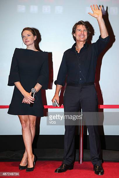 Actor Tom Cruise and Swedish actress Rebecca Ferguson attend Mission Impossible Rogue Nation premiere on September 7 2015 in Beijing China