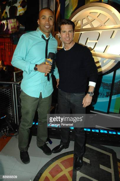 """Actor Tom Cruise and VJ Matte Babel on MuchOnDemand for a live interview about his upcoming movie """"Valkyrie"""" at the MuchMusic HQ on December 8, 2008..."""
