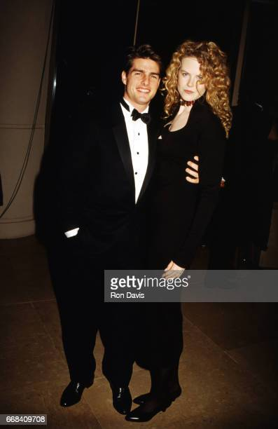 Actor Tom Cruise and wife actress Nicole Kidman hug during The 49th Annual Golden Globe Awards on January 18 1992 at the Beverly Hilton Hotel in...