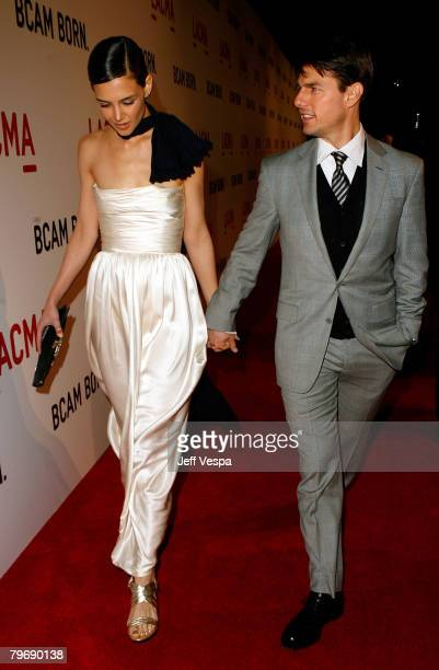Actor Tom Cruise and wife Katie Holmes attends LACMA's Opening Celebration of the Broad Contemporary Art Museum on February 9 2008 in Los Angeles...