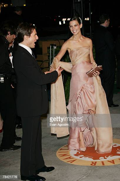 Actor Tom Cruise and wife/actress Katie Holmes arrive at the 2007 Vanity Fair Oscar Party at Mortons on February 25 2007 in West Hollywood California