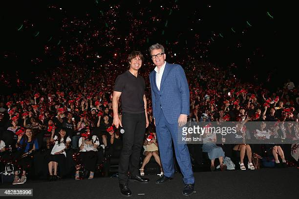 Actor Tom Cruise and writer/director Christopher McQuarrie attend the Japan Premiere of 'Mission Impossible Rogue Nation' at the Toho Cinemas...