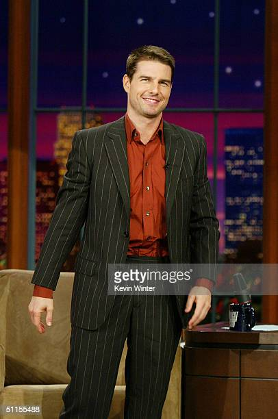 Actor Tom Cruise appears on The Tonight Show with Jay Leno at the NBC Studios on August 9 2004 in Burbank California
