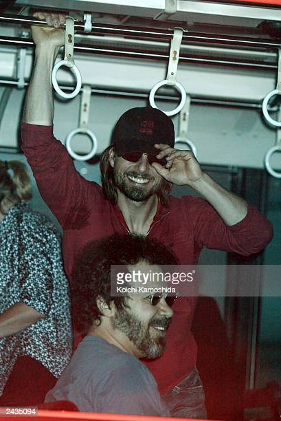 Actor Tom Cruise arrives at Haneda Airport August 28 2003 in Tokyo Japan Cruise is currently on a promotional tour for his new film The Last Samurai