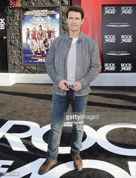 """Actor Tom Cruise arrives at the Los Angeles Premiere """"Rock Of Ages"""" at Grauman's Chinese Theatre on June 8, 2012 in Hollywood, California."""