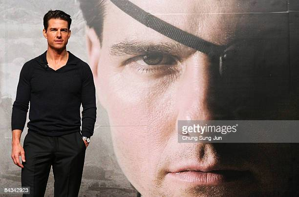 Actor Tom Cruise attends his press conference at the Hyatt hotel on January 18 2009 in Seoul South Korea Tom Cruise is visiting South Korea to...