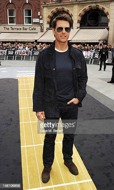 Actor Tom Cruise attends the European Premiere of 'Rock Of Ages' at Odeon Leicester Square on June 10 2012 in London England