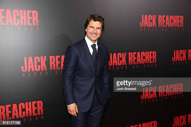 Actor Tom Cruise attends the fan screening of the Paramount Pictures title 'Jack Reacher Never Go Back' on October 16 2016 at the AMC Elmwood in New...
