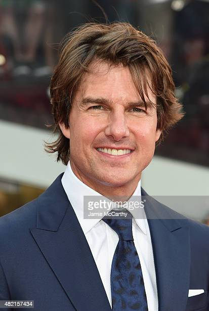 Actor Tom Cruise attends the 'Mission Impossible Rogue Nation' New York premiere at Duffy Square in Times Square on July 27 2015 in New York City