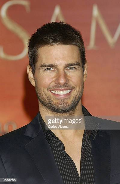 "Actor Tom Cruise attends the Spanish Premiere of ""The Last Samurai"" at the Palacio de la Musica cinema on January 8, 2004 in Spain."