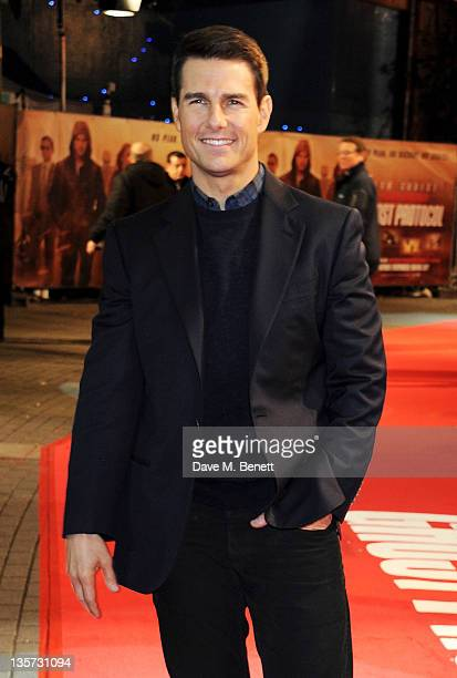 Actor Tom Cruise attends the UK Premiere of 'Mission Impossible Ghost Protocol' at BFI IMAX on December 13 2011 in London England
