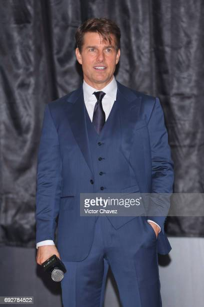 Actor Tom Cruise attends the unveiling of an art poster inspired by the film 'The Mummy' made by artist Ricardo Garcia 'Kraken' at Museo Soumaya on...