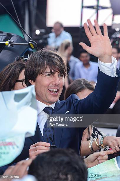 Actor Tom Cruise enters the 'Mision ImpossibleRogue Nation' Premiere in Time Square on July 27 2015 in New York City