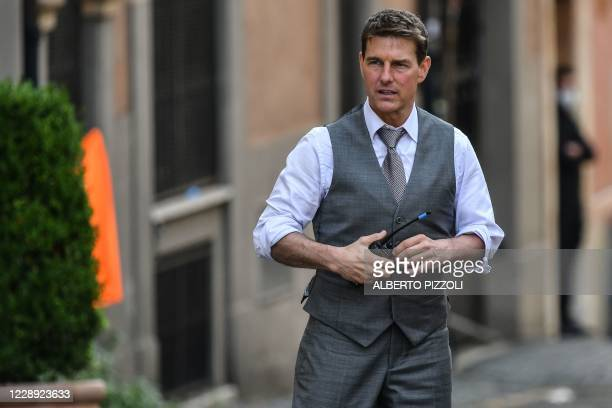 """Actor Tom Cruise is pictured on the set during the filming of """"Mission Impossible : Lybra"""" on October 6, 2020 in Rome."""