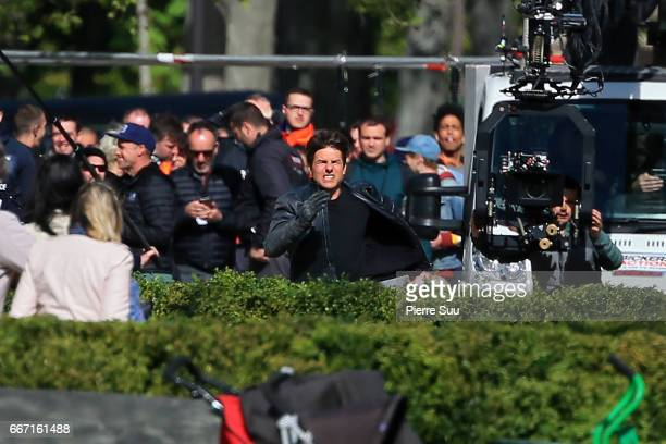 Actor Tom Cruise is seen filming a stunt on set for 'MissionImpossible 6 Gemini' filming on April 11 2017 in Paris France