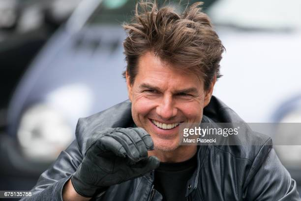Actor Tom Cruise is seen on the set of 'MissionImpossible 6 Gemini' on Avenue de l'Opera on April 30 2017 in Paris France
