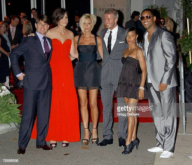 """Actor Tom Cruise, Katie Holmes, Victoria Beckham, David Beckham, Jada Pinkett Smith and actor Will Smith arrive at the """"Beckham Welcome To LA Party""""..."""