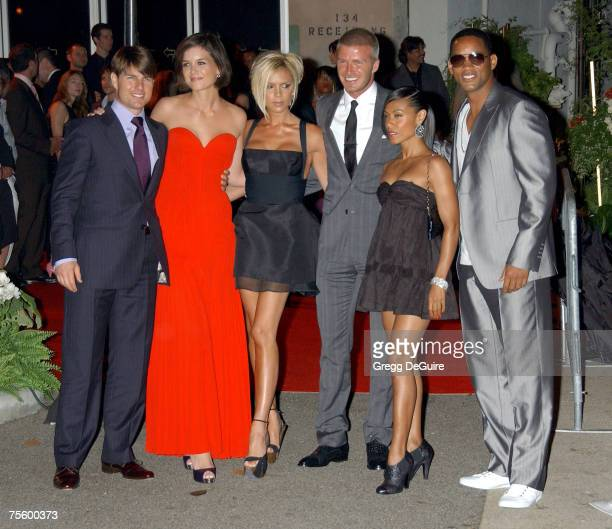 Actor Tom Cruise Katie Holmes Victoria Beckham David Beckham Jada Pinkett Smith and actor Will Smith arrive at the 'Beckham Welcome To LA Party' at...