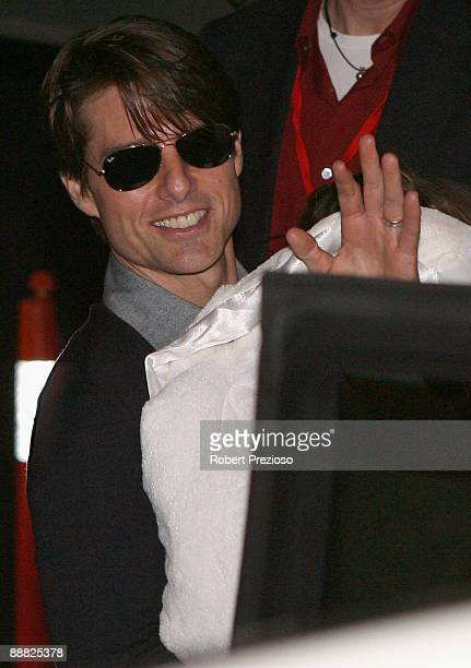 Actor Tom Cruise leaves the stage production of 'Jersey Boys The Story Of Frankie Valli The Four Seasons' at Princess Theatre on July 5 2009 in...
