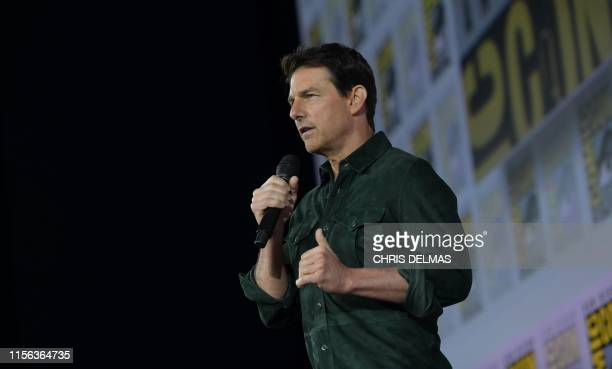 Actor Tom Cruise makes a surprise appearance in Hall H to promote Top Gun Maverick at the Convention Center during Comic Con in San Diego California...