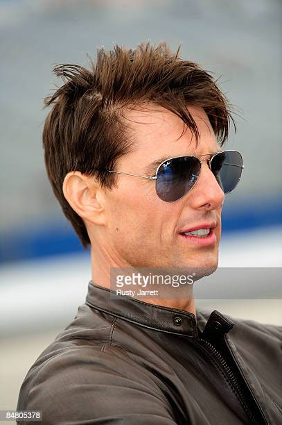 Actor Tom Cruise on track prior to the NASCAR Sprint Cup Series Daytona 500 at Daytona International Speedway on February 15 2009 in Daytona Beach...