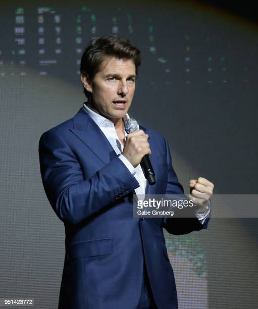 Actor Tom Cruise speaks during the CinemaCon 2018 Paramount Pictures Presentation Highlighting Its Summer of 2018 and Beyond at The Colosseum at...